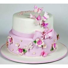 Торт Цветочки и бабочки