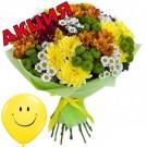 15 разноцветных хризантем + шарик